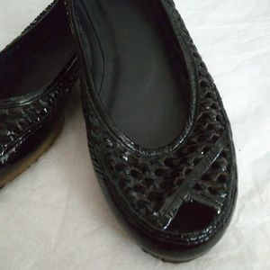 Frye Woven Paten Leather Peep Toe Flats 9